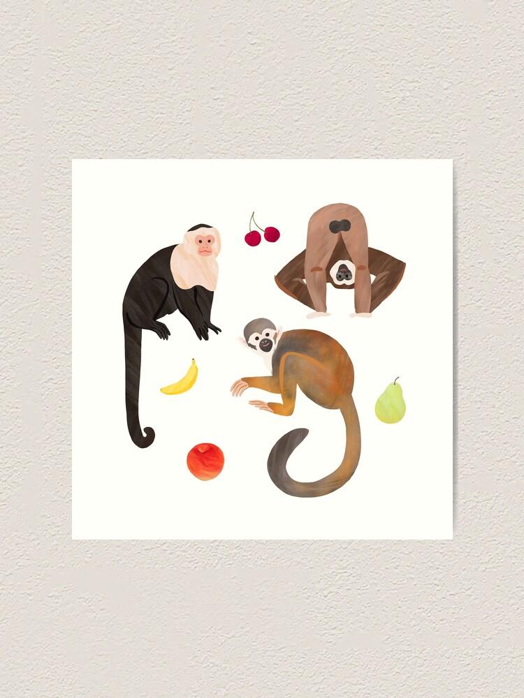 Alternate view of Monkeys & Fruits Art Print