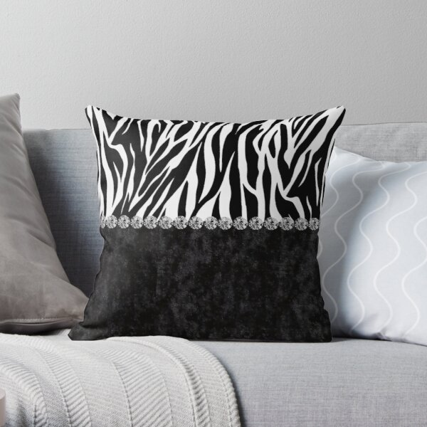 Black Velvet Zebra Print Bling Throw Pillow