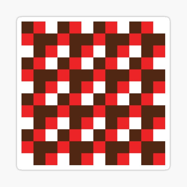 Abstract Santa Christmas chequered pattern (red, white, brown) Sticker