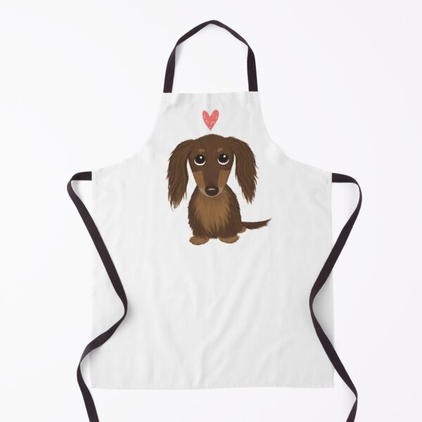 Longhaired Chocolate Dachshund   Cute Wiener Dog with Heart Apron