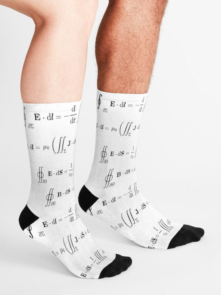 Alternate view of Maxwell's equations, #Maxwells, #equations, #MaxwellsEquations, Maxwell, equation, MaxwellEquations, #Physics, Electricity, Electrodynamics, Electromagnetism Socks
