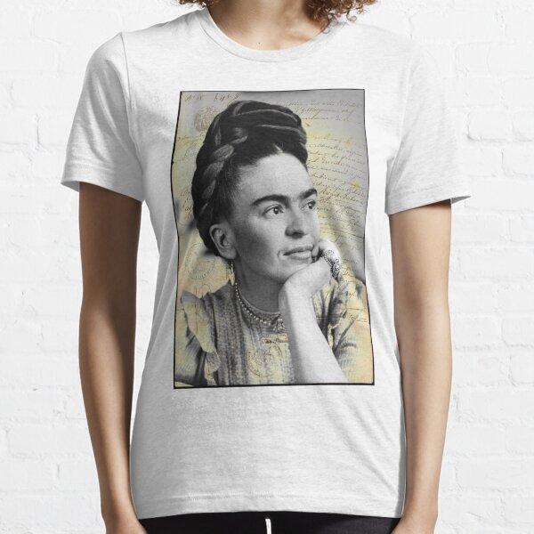 Frida Kahlo Porträt Vintage alten Buchstaben Pop-Künstler Essential T-Shirt