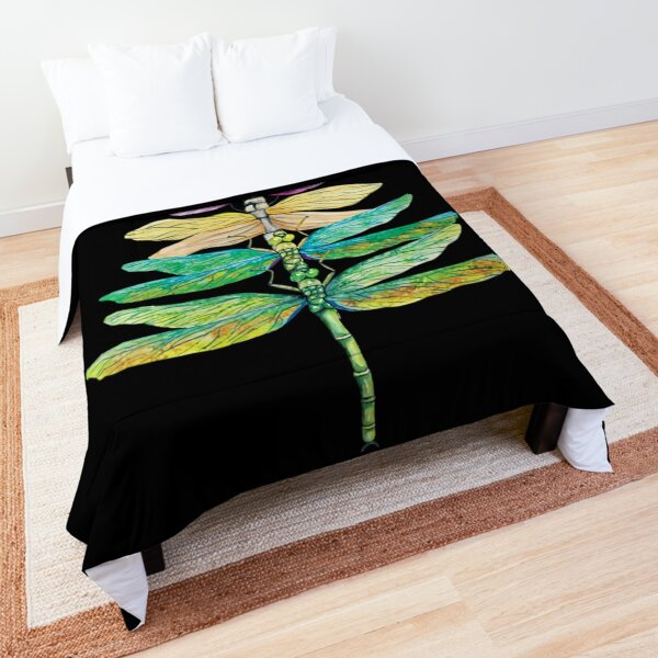 Womens Merry Christmas Insect Lover Xmas Dragonfly Christmas Tree  Comforter