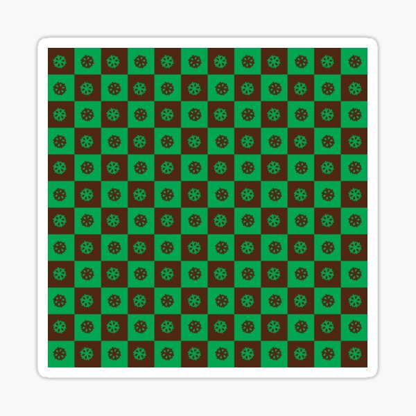 Green and brown chequered pattern with green and brown snowflakes Sticker