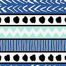 Blue, Mint and Black Ethnic Pattern by Iveta Angelova