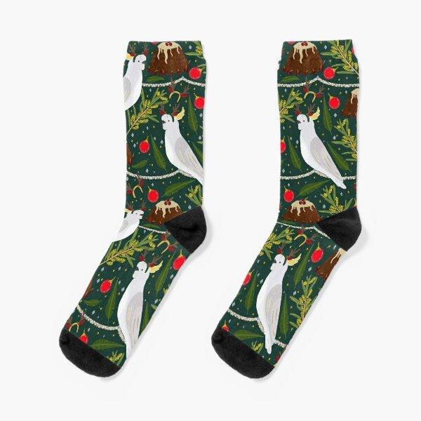 Christmas Australian Sulfur Crested Cockatoo Parrot Pudding Wattle Socks