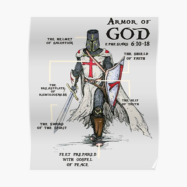 Templar Shield Cross Medieval Warrior Sword Knights Templar Armor of God Helmet Emblem  Poster