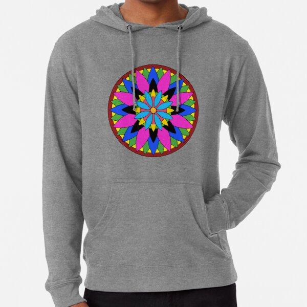 Mandala Pattern in Vibrant Pink, Blue and Greens Lightweight Hoodie