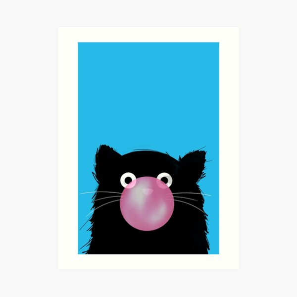Chewing Gum Bubble Cat Art Print
