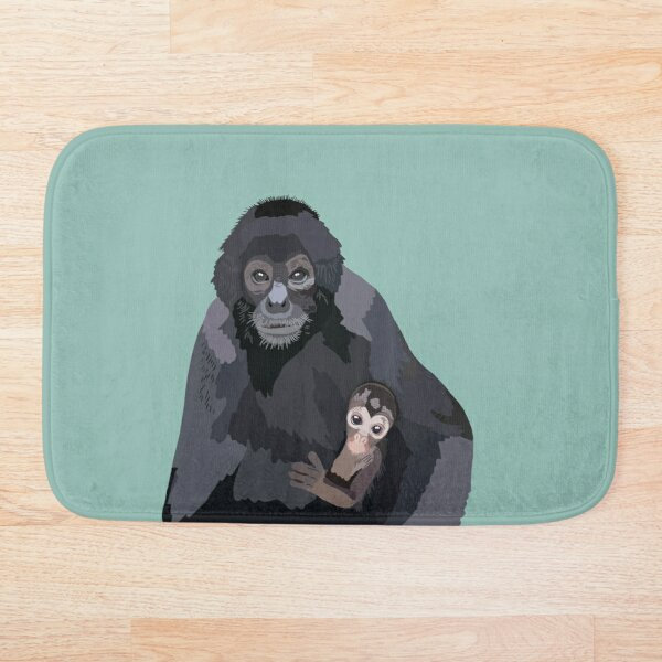 S is for Spider monkey  Bath Mat