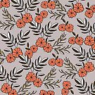 Lavender & Coral Floral Laurel Print by pizzazzdesign