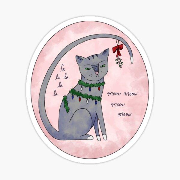 Deck the Halls Cat Sticker