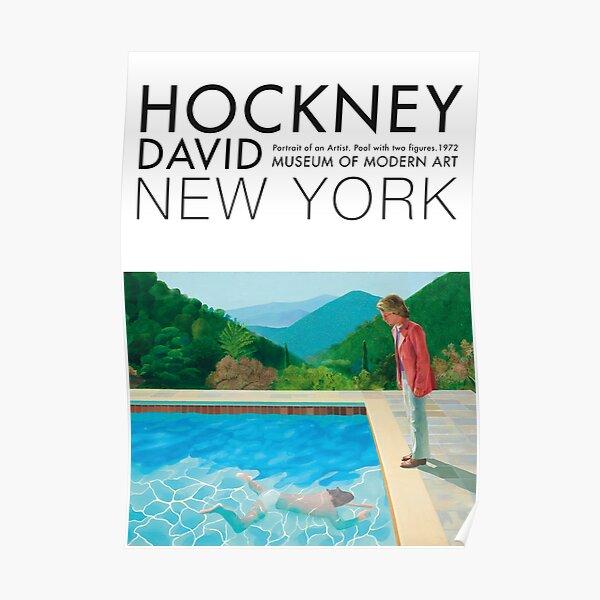 Póster de arte de la exposición de David Hockney - Piscina con dos figuras Póster