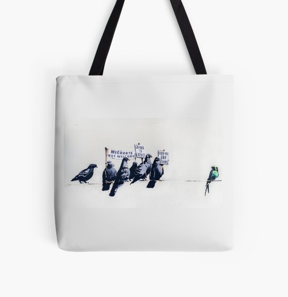 Banksy Clacton-on-Sea Mural - Anti-Refugee Pigeons All Over Print Tote Bag