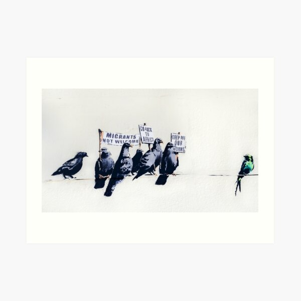 Banksy Clacton-on-Sea Mural - Anti-Refugee Pigeons Art Print