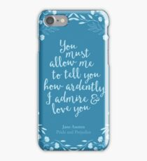 Jane Austen Pride and Prejudice Floral Love Quote iPhone Case/Skin