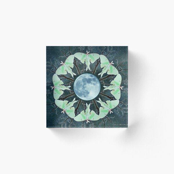 Luna Moth and Full Moon Mandala Acrylic Block