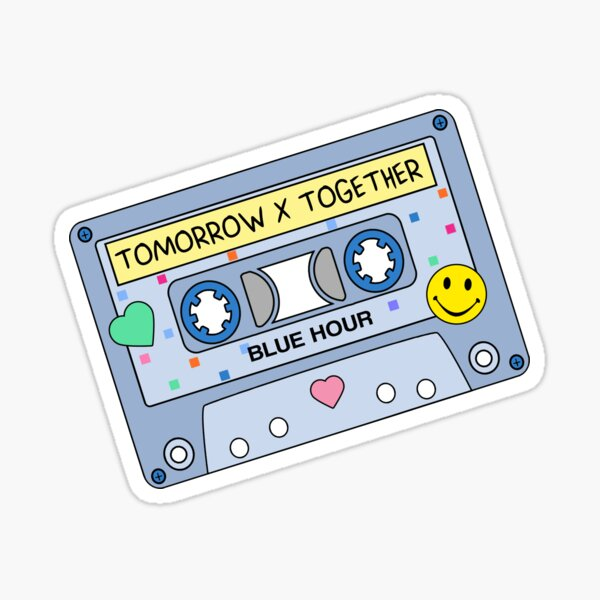 TXT BLUE HOUR Tomorrow x Together CUTE Retro Pastel Cassette Tape Sticker