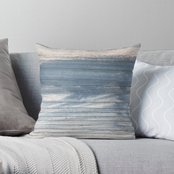 Blue wood texture Throw Pillow