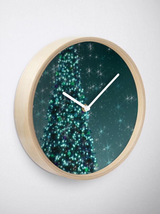 Alternate view of Blue Christmas Tree Clock