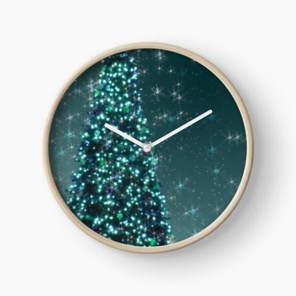 Blue Christmas Tree Clock