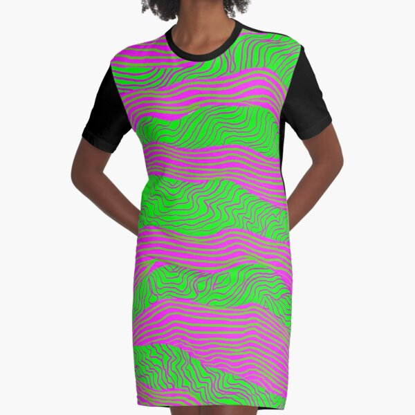 Pink and Green Graphic T-Shirt Dress
