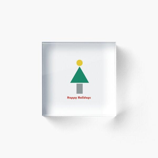 Bauhaus style holiday tree minimalist design Acrylic Block