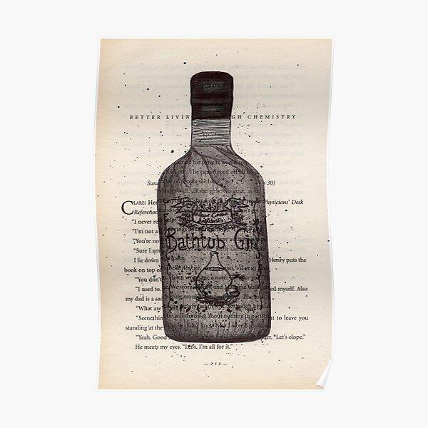 Bathtub Gin Illustration / Drawing onto Vintage Book Page, Gin Art, Gin Illustration, Botanical, Print, Wall Art Poster