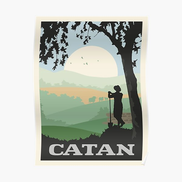 Catan Board Game- Minimalist Travel Poster Style - Gaming Art Poster