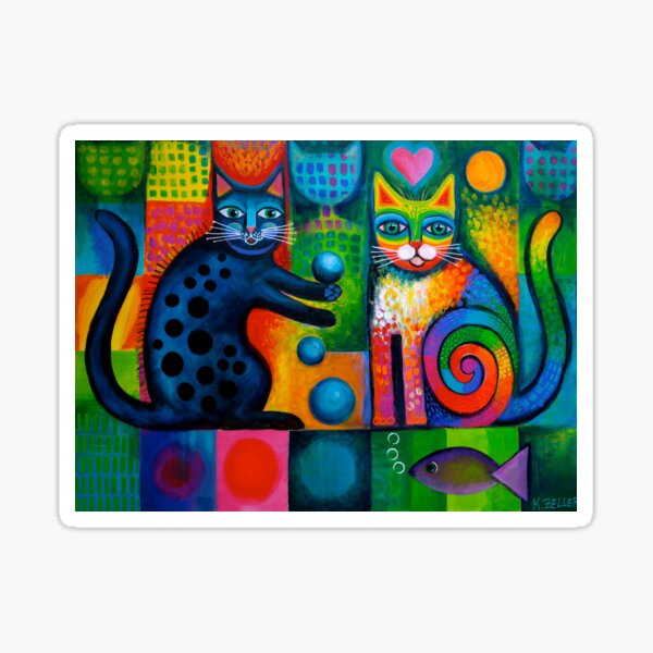 Two cheeky cats Acrylics Sticker