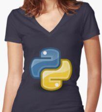 Python logo Women's Fitted V-Neck T-Shirt
