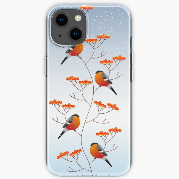 watercolor christmass ornament with snow, red bullfinch at rowan branches. Iphone or Samsung phone Case & Cover iPhone Soft Case
