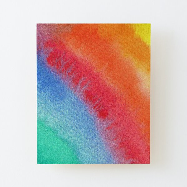 Rainbow Watercolour for Positivity and Joy Wood Mounted Print