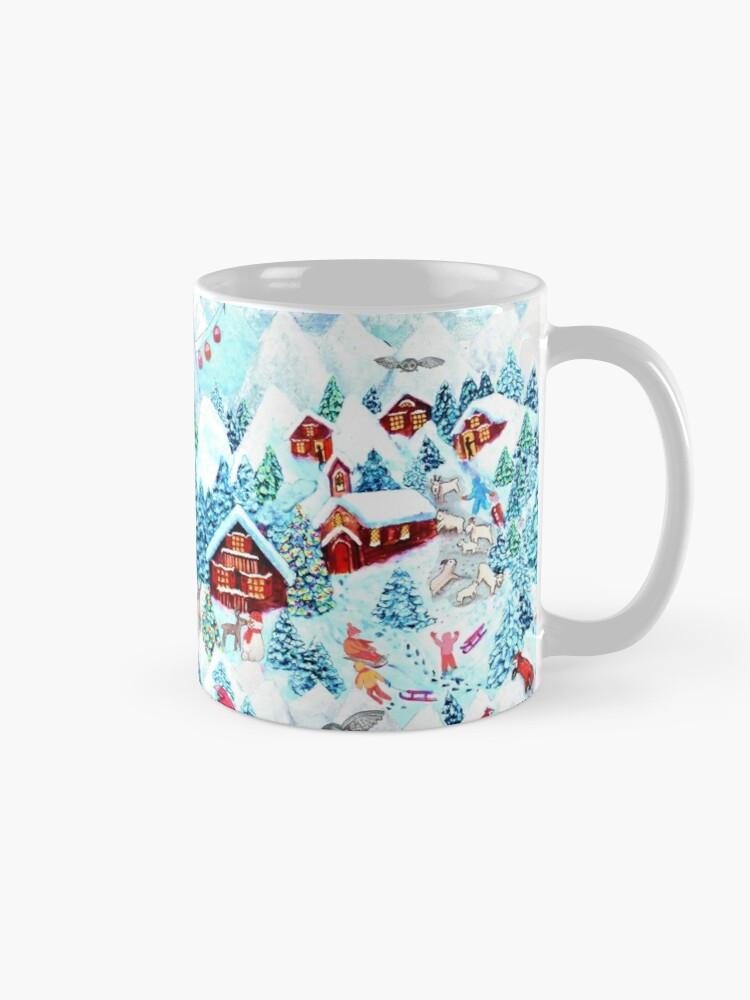 Alternate view of Christmas Alpine Village  watercolor painting with kids, reindeer, owls, mountains, mountain goats, kids and christmas trees Mug