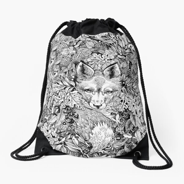 Hiding fox Drawstring Bag
