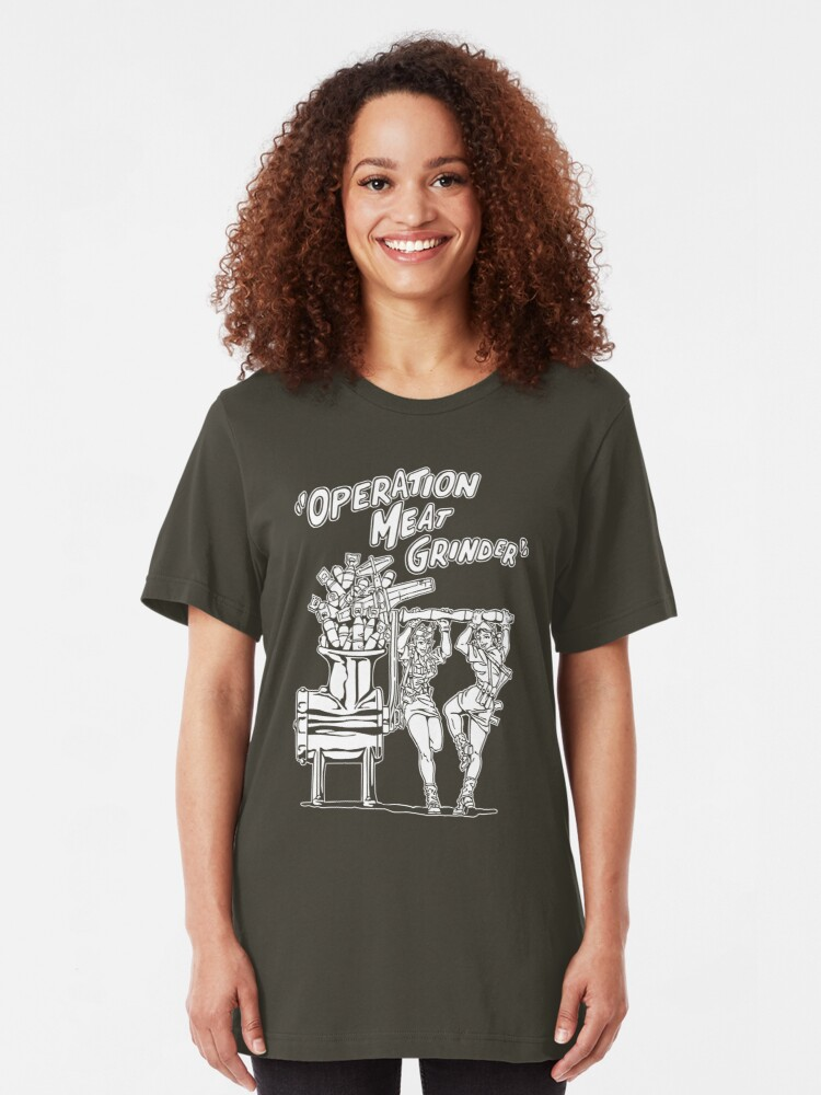 Alternate view of Operation Meat Grinder Slim Fit T-Shirt