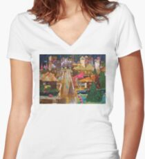 Country Town Collage Women's Fitted V-Neck T-Shirt