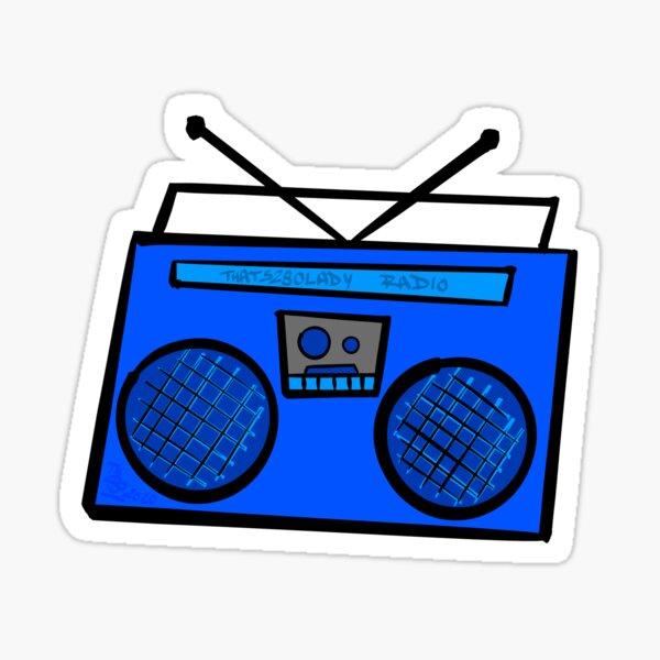 Blue Boombox Glossy Sticker