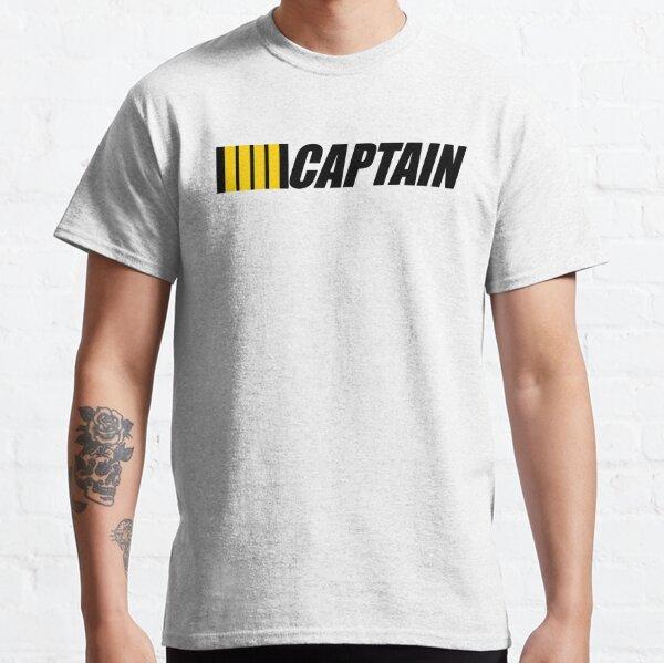 Captain typography Pilot 4 gold Stripes on Black design Classic T-Shirt