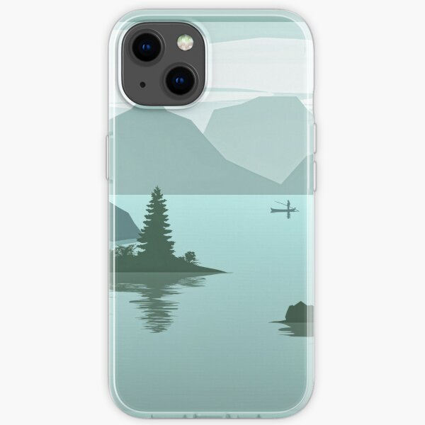 emerald green watercolor design with mountains lake  and forest. Iphone or Samsung phone Case & Cover iPhone Soft Case