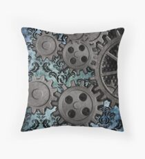 Steampunk Brocade with Gears 4 Throw Pillow
