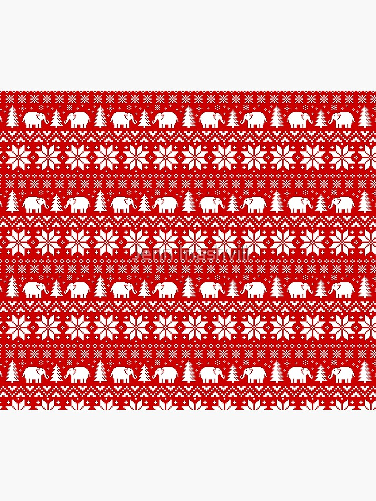 Cute Elephants Red and White Christmas Holiday Pattern by ShortCoffee