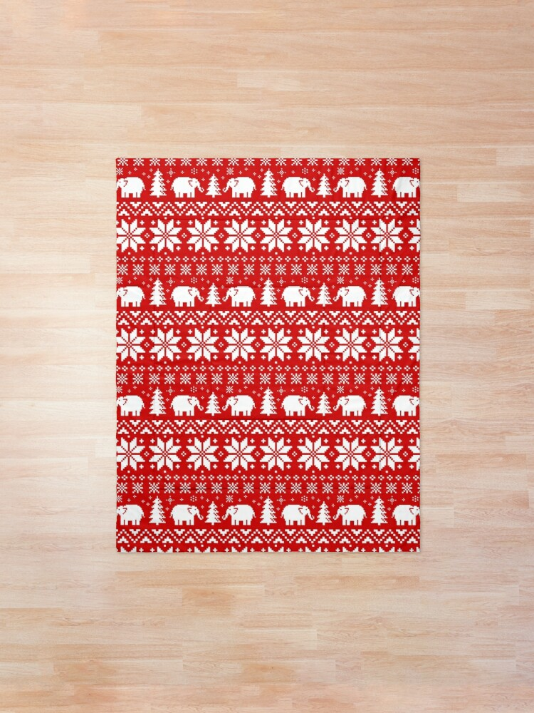 Alternate view of Cute Elephants Red and White Christmas Holiday Pattern Comforter