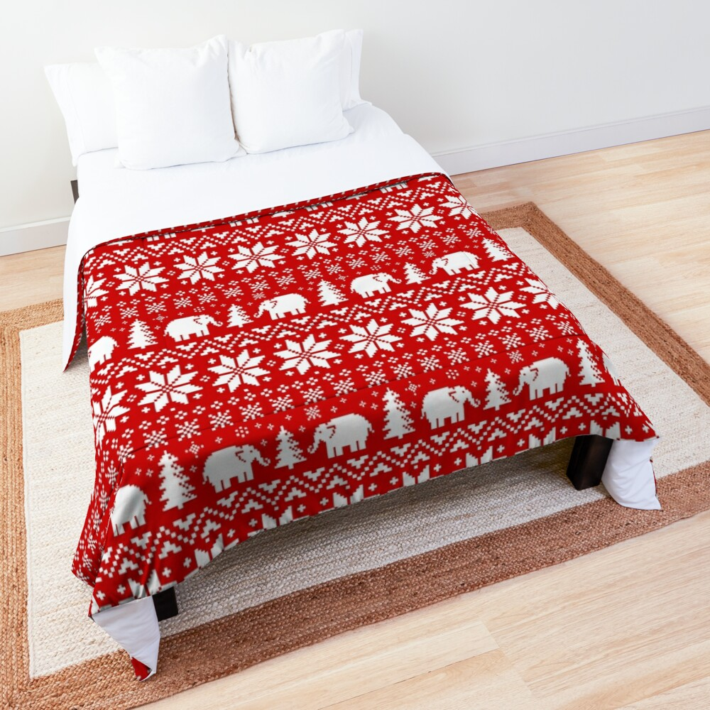Cute Elephants Red and White Christmas Holiday Pattern Comforter