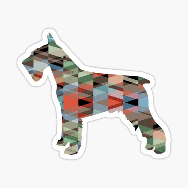 Schnauzer - Colorful Geometric Pattern Silhouette - plaid Sticker