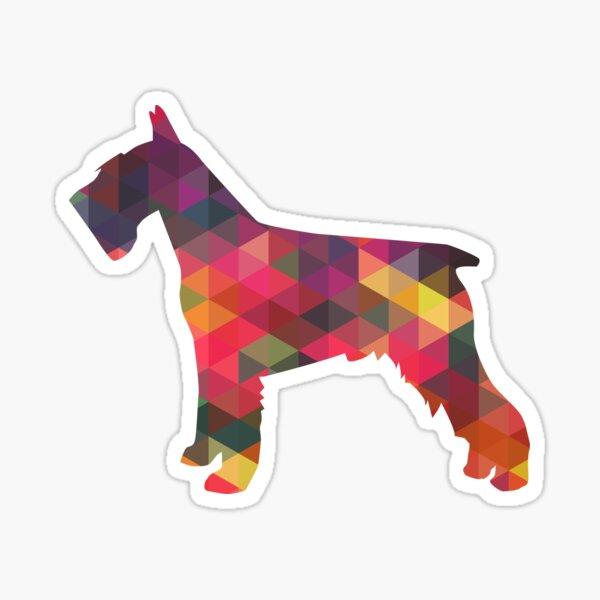 Schnauzer - Colorful Geometric Pattern Silhouette - Multi Sticker