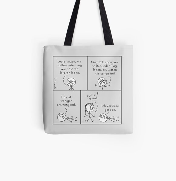 Lebensphilosophie islieb-Comic Allover-Print Tote Bag