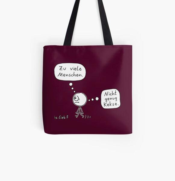 Genau falsch islieb Cartoon Allover-Print Tote Bag