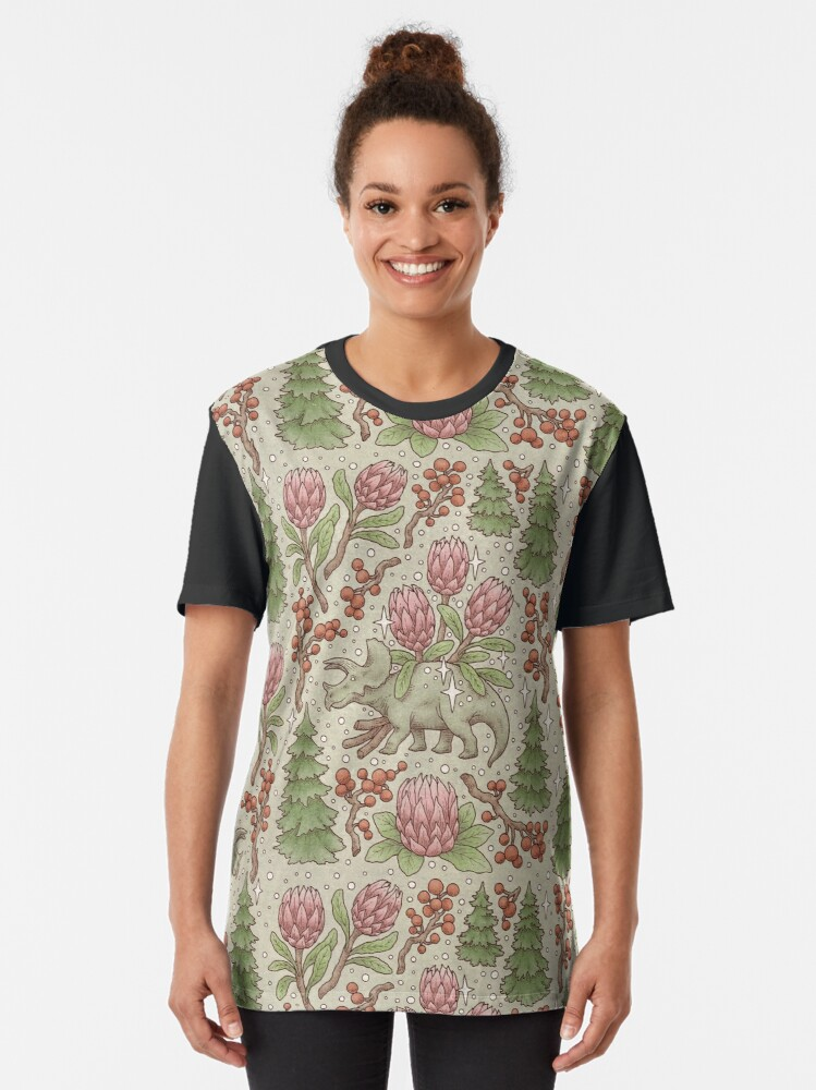 Alternate view of Holiday Triceratops   Festive Dinosaur   Christmas Colors Graphic T-Shirt