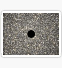 Illustration of a supermassive black hole in the middle of a dense galaxy. Sticker